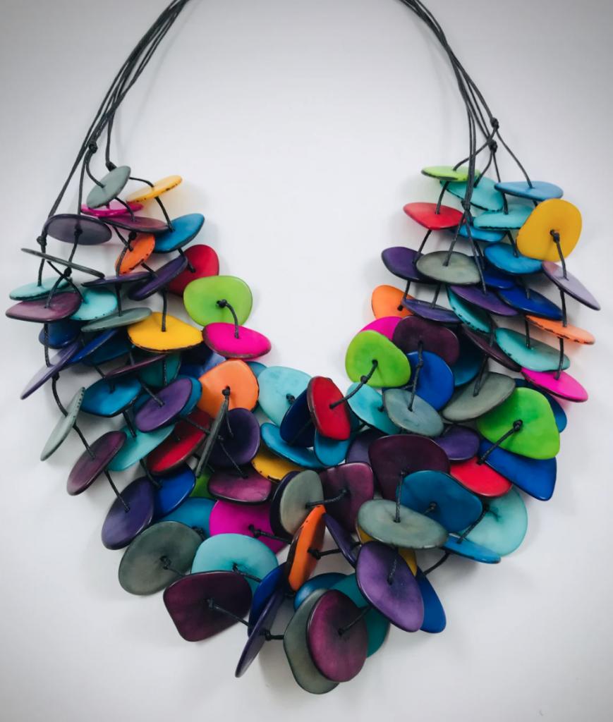 multicolored multistrand necklace