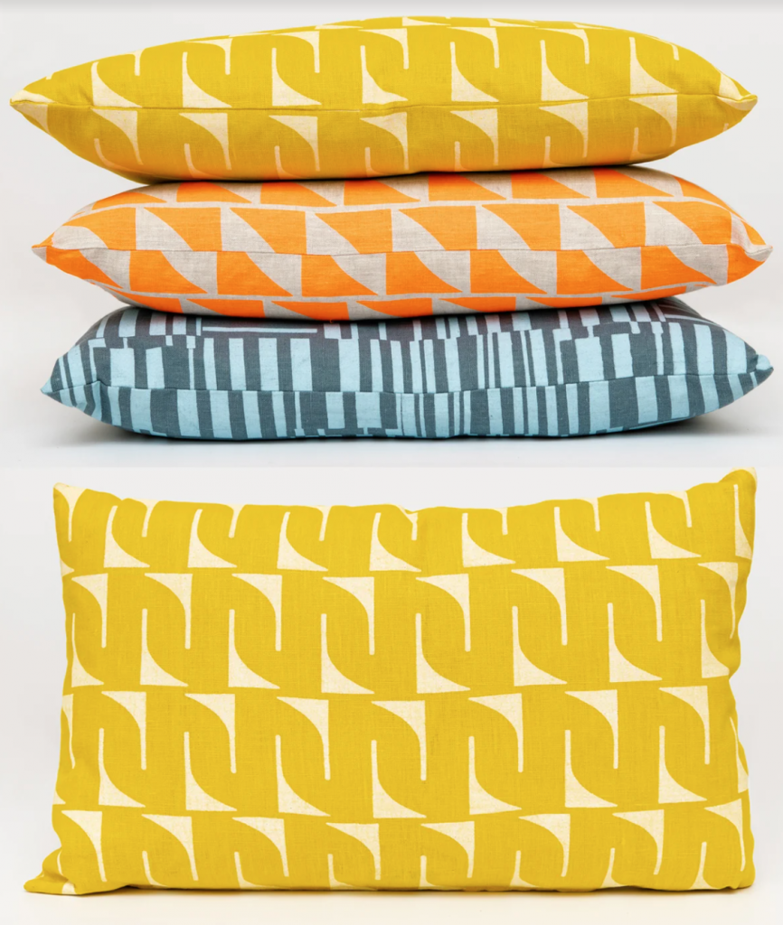 screen-printed pillow covering
