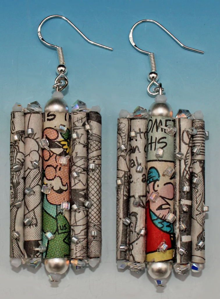 earrings made of recycled newspaper