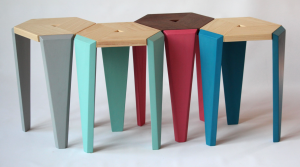 recycled wood stools with organic paints