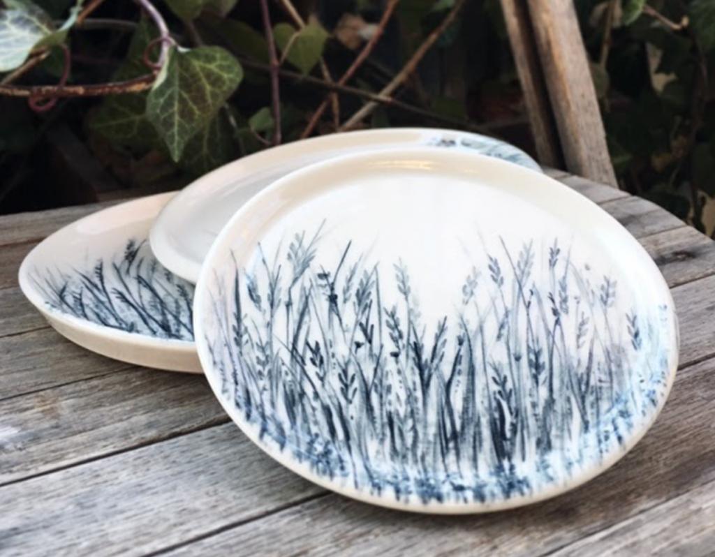 ceramic botanical plates